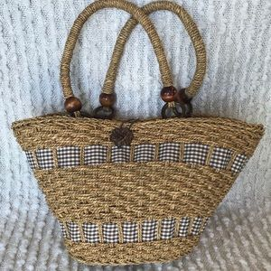 Handbags - Seagrass Summer Beach Tote With Gingham Accent